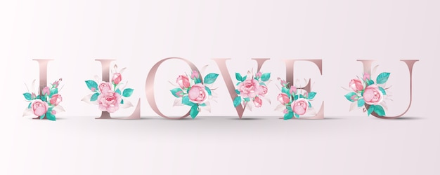 Beautiful alphabet with pink rose watercolor decoration