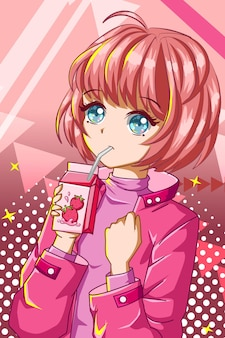 いちごミルクキャラクター漫画イラストと美しくてかわいい女の子