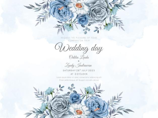 Красивый и элегантный синий цветочный шаблон свадебного приглашения