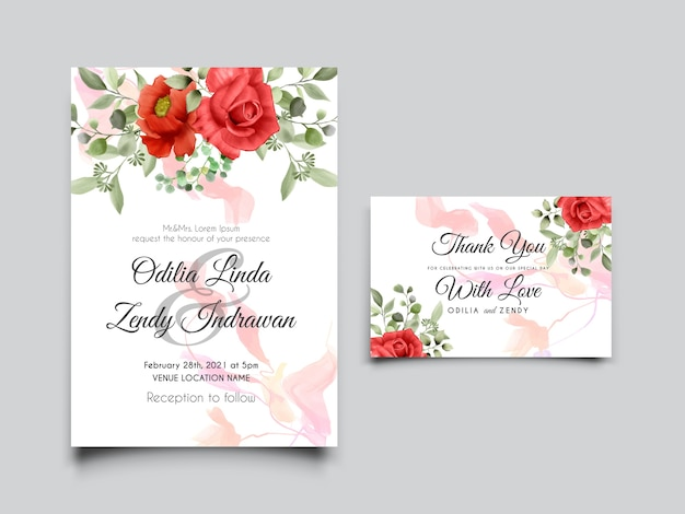 美しくエレガントなデザインのバラ水彩結婚式の招待状のテンプレート
