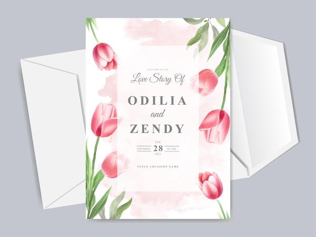 아름답고 우아한 꽃 손으로 그린 청첩장 카드 템플릿