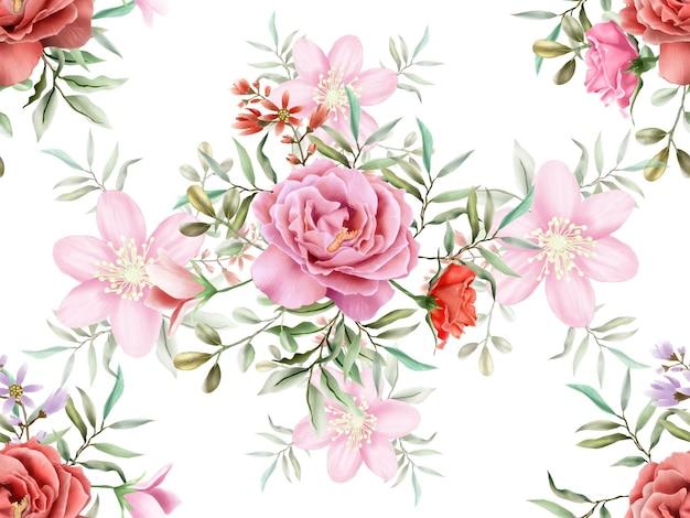 美しくエレガントな花の水彩画のシームレスなパターン