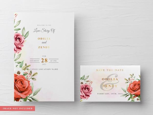 아름답고 우아한 꽃 수채화 결혼식 초대 카드 템플릿