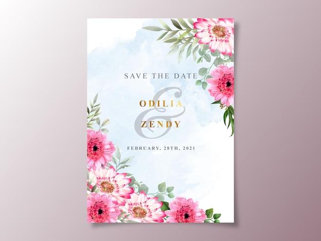 美しくエレガントな花の水彩結婚式の招待カードテンプレート