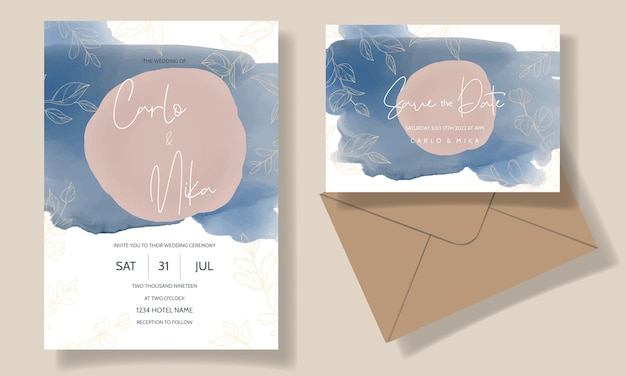 아름답고 우아한 꽃 결혼식 초대 카드 템플릿