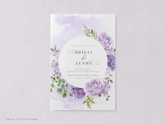 美しくエレガントな花の結婚式の招待カードのテンプレート