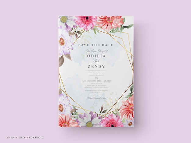 Красивый и элегантный цветочный свадебный пригласительный билет