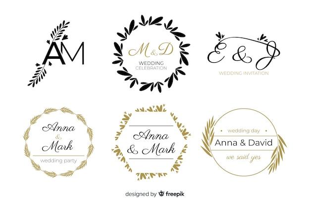 결혼식이나 꽃집을 위해 아름답고 우아한 로고 또는 로고 세트