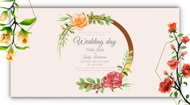ゴールドグランジリースの結婚式の招待状で美しくエレガントなローズ