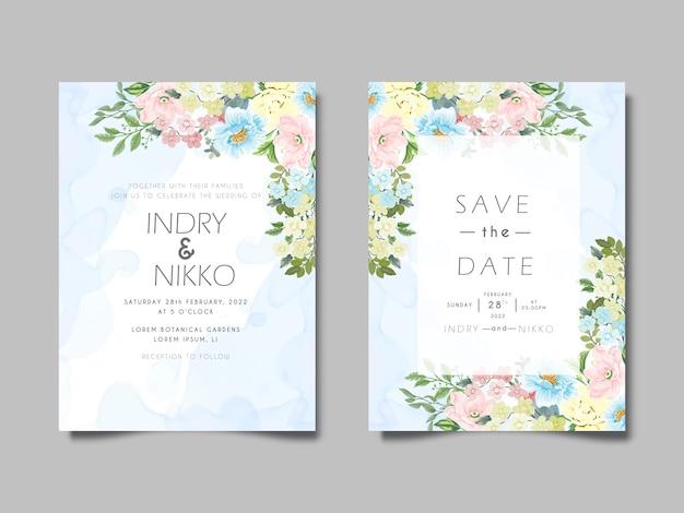 아름답고 우아한 결혼식 초대 카드 꽃 개념