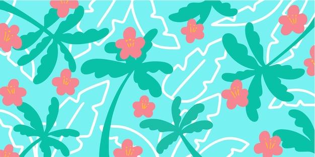 Красивый и свежий цветочный узор каракули эксклюзивный