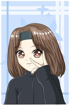 Красивая и счастливая девушка каштановые короткие волосы с черной курткой карикатура иллюстрации