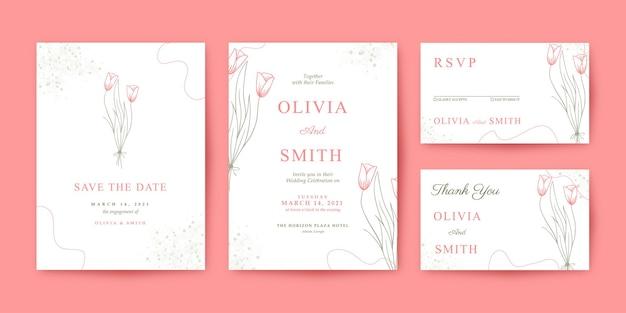 Красивый и минималистичный шаблон свадебного приглашения с розой