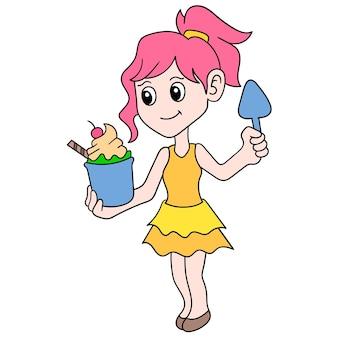 美しくてセクシーな女の子は、アイスクリーム、ベクトルイラストアートのおいしいグラスをもたらします。落書きアイコン画像カワイイ。