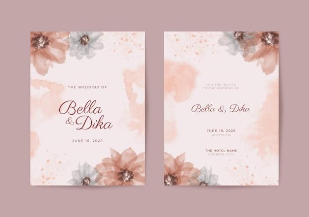 美しくシンプルな結婚式の招待状のテンプレート