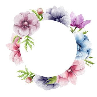 Beautiful Anemone Flowers Circle Border Premium Vector