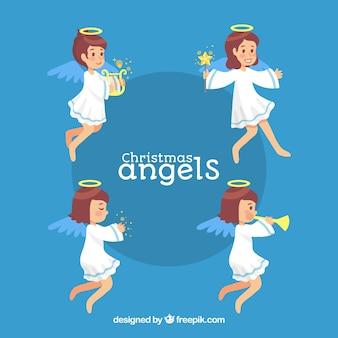 Красивый ангел в разных позициях