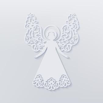 Красивый ангел с декоративными крыльями и ореолом