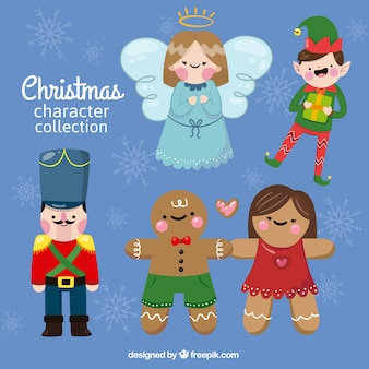 Beautiful angel with other christmas characters