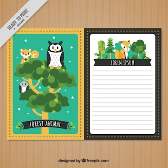 Beautiful animal card template in vintage style