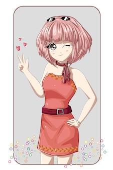 핑크 짧은 머리와 핑크 미니 드레스를 입고 아름다운 애니메이션 소녀 일본