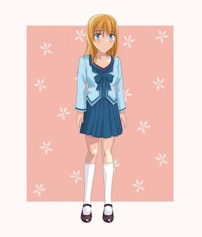 Beautiful anime student woman