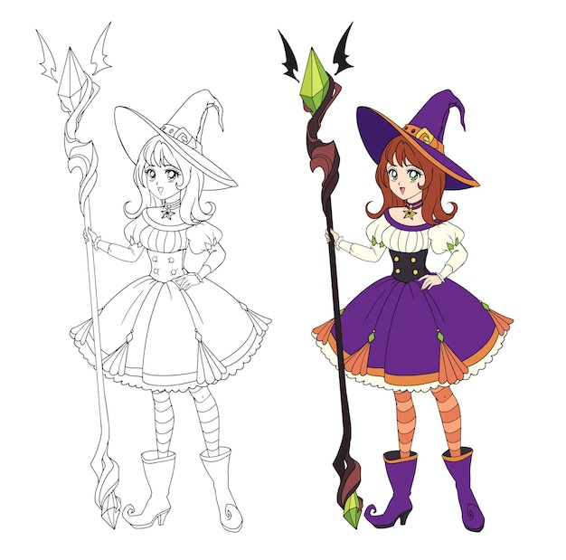 Beautiful anime witch holding big staff. red hair, purple dress and big hat.