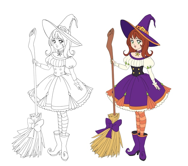 木製のほうきを持っている美しいアニメ魔女。赤い髪、紫色のドレス、大きな帽子。塗り絵の手描きイラスト。白で隔離
