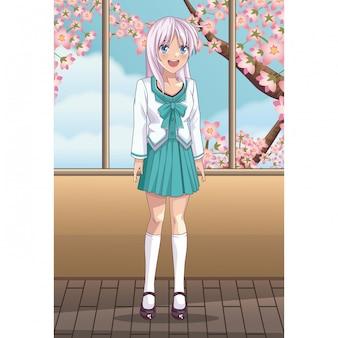 Beautiful anime woman student