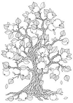 아름다운 사과나무 그리기 색칠하기
