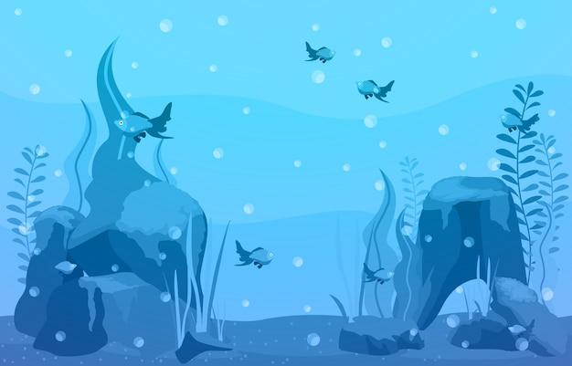 美しい水族館フィッシュリーフブルーウォータープラントイラスト