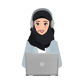 Beautiful arab business woman in call center to customer service.