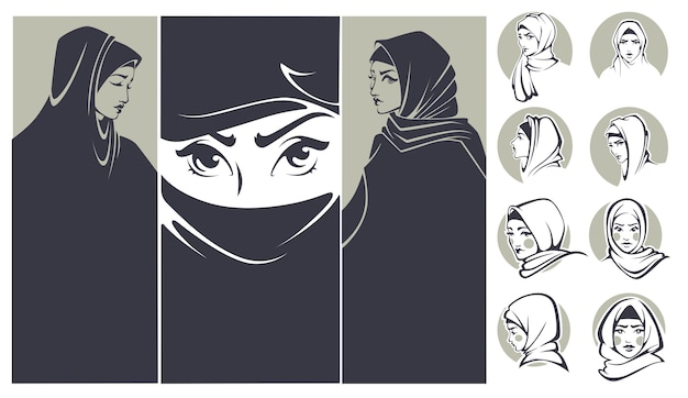 Beautiful arabian girls collection banners and portraits Premium Vector