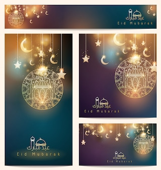 Beautiful arabic background floral ornament star and crescent mosque for greeting business card