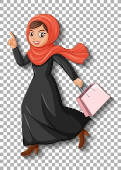 美しいアラビア語の女性の漫画のキャラクター