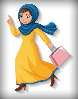 美しいアラビアの女性の漫画のキャラクター