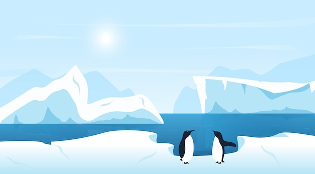 Beautiful arctic or antarctic landscape with icebergs and penguins