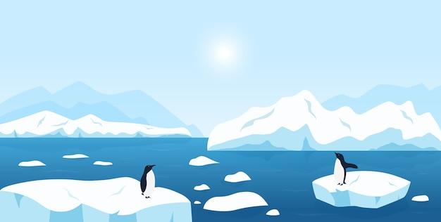 아름다운 북극 또는 남극 풍경