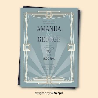 Beautiful art deco wedding invitation template concept