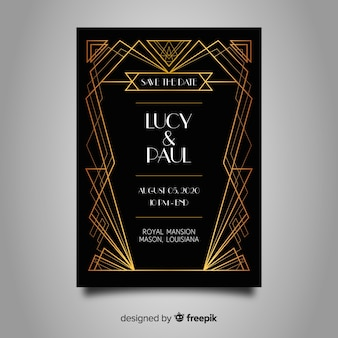 Beautiful art deco wedding invitation template