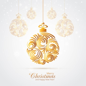 Beautiful artistic christmas golden ball background