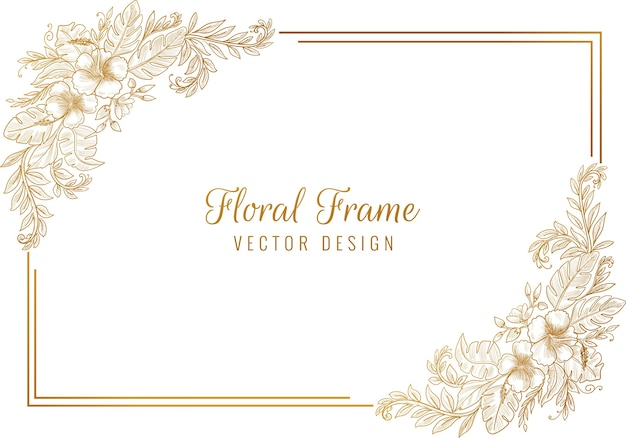 Beautiful artistic sketch floral frame