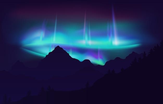Beautiful aurora borealis northern lights in night sky over mountain.