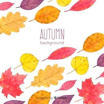水彩スタイルの美しい秋の背景