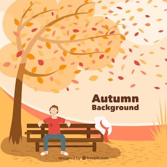 Beautiful autumn background with flat design