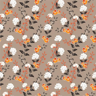 Beautiful autumn blooming flowers and botanical plant seamless floral pattern
