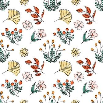 Beautiful autumn bouquet flowers vector seamless pattern background