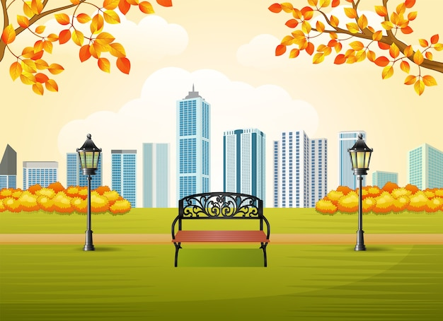 Beautiful autumn city park with town building background