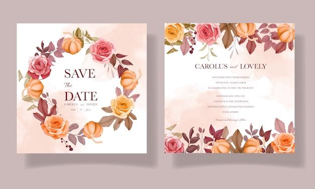 Beautiful autumn fall flower and leaves wedding invitation card set