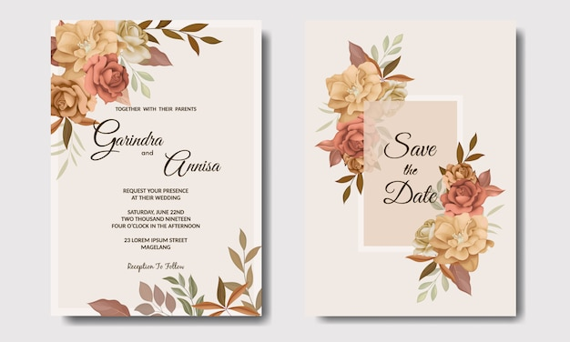 Beautiful autumn floral frame wedding invitation card template
